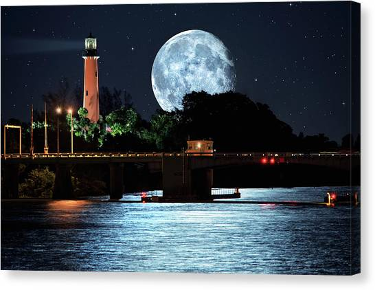 Mega Super Moon Rising Over Jupiter Lighthouse Canvas Print