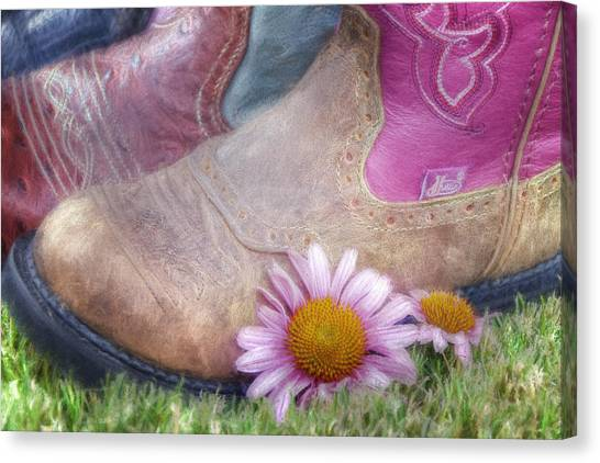 Cowboy Boots Canvas Print - Megaboots 2015 by Joan Carroll