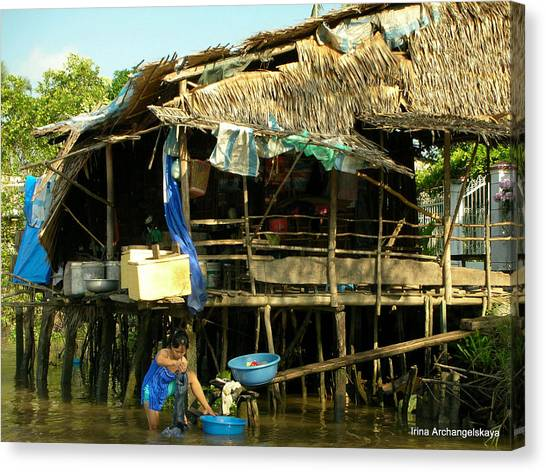 Mekong River Chores Canvas Print