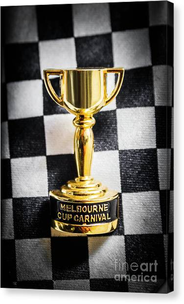 Black Tie Canvas Print - Melbourne Cup Pin On Mens Chequered Fashion Tie by Jorgo Photography - Wall Art Gallery