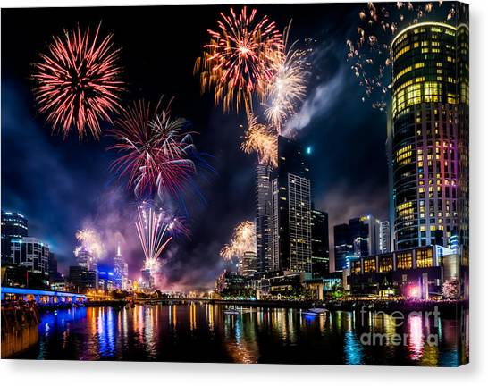 Canvas Print featuring the photograph Melbourne Fireworks by Ray Warren