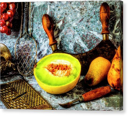 Honeydews Canvas Print - Melon Pears Still Life by Garry Gay