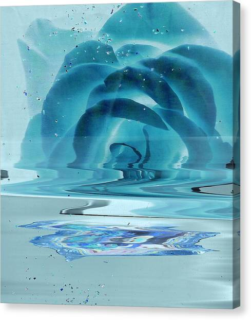 Melting Blue Rose  Canvas Print by Anne-Elizabeth Whiteway
