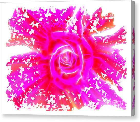 Melting Pink Rose Fractalius Canvas Print