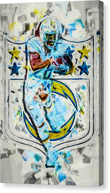 Los Angeles Chargers Canvas Print - Melvin Gordon La Chargers 2b Plight by David Haskett