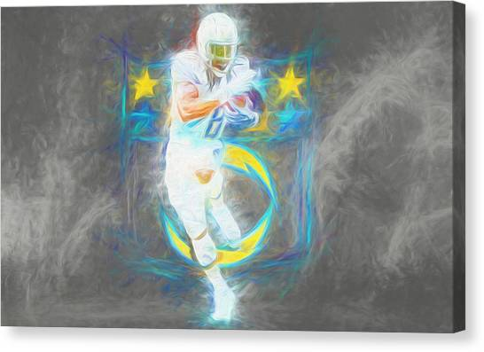 University Of Wisconsin - Madison Canvas Print - Melvin Gordon La Chargers 4 Football by David Haskett