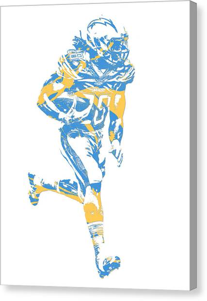 Los Angeles Chargers Canvas Print - Melvin Gordon Los Angeles Chargers Pixel Art 12 by Joe Hamilton
