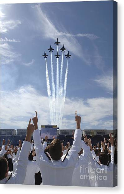 Airplane Canvas Print - Members Of The U.s. Naval Academy Cheer by Stocktrek Images