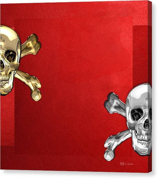 Star Trek Canvas Print - Memento Mori - Gold And Silver Human Skulls  by Serge Averbukh