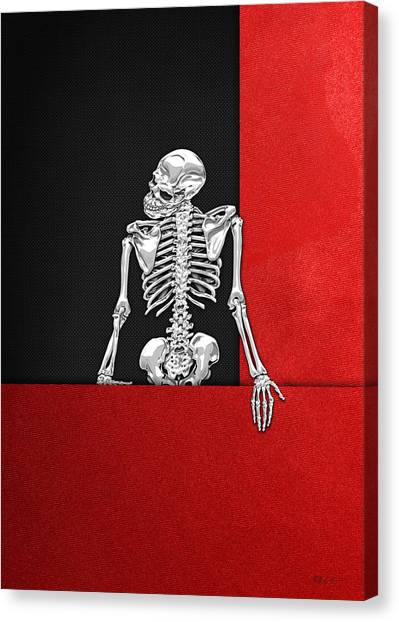 Pop Art Canvas Print - Memento Mori - Skeleton On Red And Black  by Serge Averbukh
