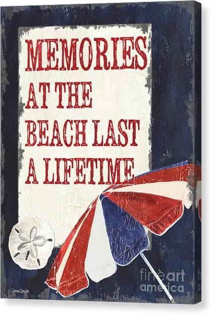 Beach Umbrellas Canvas Print - Memories At The Beach by Debbie DeWitt