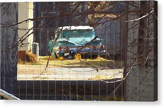 Memories Of Old Blue, A Car In Shantytown.  Canvas Print