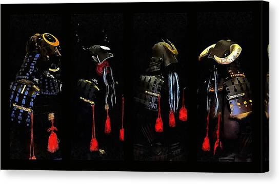 Memories Of Samurai Black Armour Collage Canvas Print by Dorothy Berry-Lound