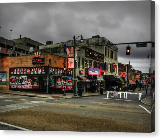 Canvas Print featuring the photograph Memphis - Beale Street 002 by Lance Vaughn