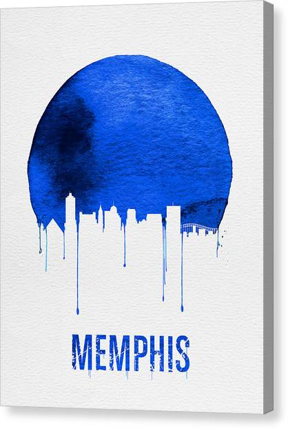 Tennessee Canvas Print - Memphis Skyline Blue by Naxart Studio