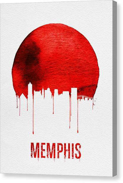 Tennessee Canvas Print - Memphis Skyline Red by Naxart Studio