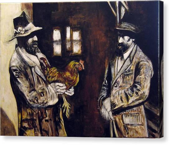 Men And Hen After A Photograph Shown On Pbs  Canvas Print by Vladimir Kezerashvili