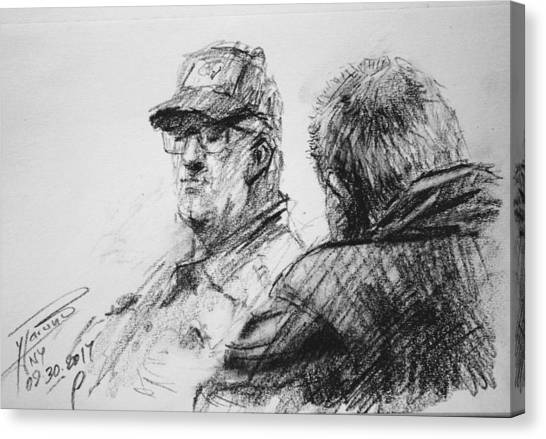 Tim Canvas Print - Men At Tims Cafe by Ylli Haruni