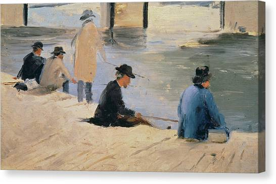 Angling Art Canvas Print - Men Fishing From A Jetty by Georges Pierre Seurat