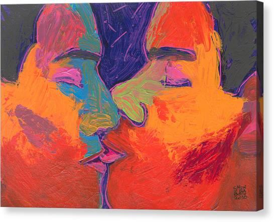 Men Kissing Colorful 2 Canvas Print