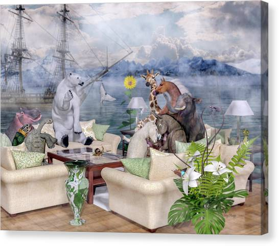 Mountain View Canvas Print - Menagerie  by Betsy Knapp