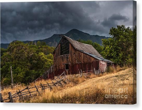 Barn Storm Canvas Print - Mendon Utah Barn In Storm by Gary Whitton