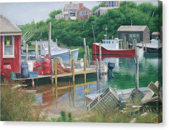 Marthas Vineyard Canvas Print - Menemsha Harbor Martha's Vineyard by Julia O'Malley-Keyes