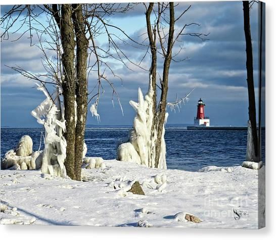 Menominee Lighthouse Ice Sculptures Canvas Print