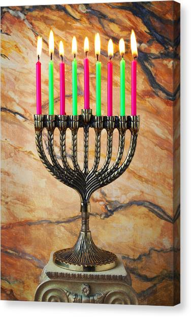 Judaism Canvas Print - Menorah by Garry Gay
