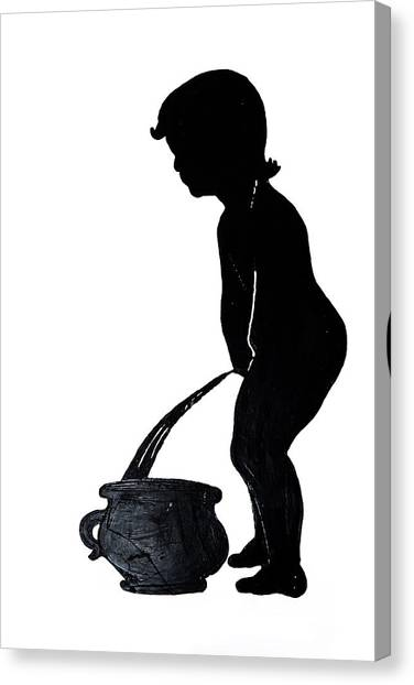 Mens Room Sign Silhouette Canvas Print