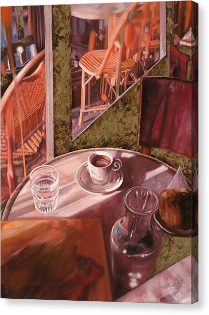 Cafes Canvas Print - Mentre Ti Aspetto by Guido Borelli