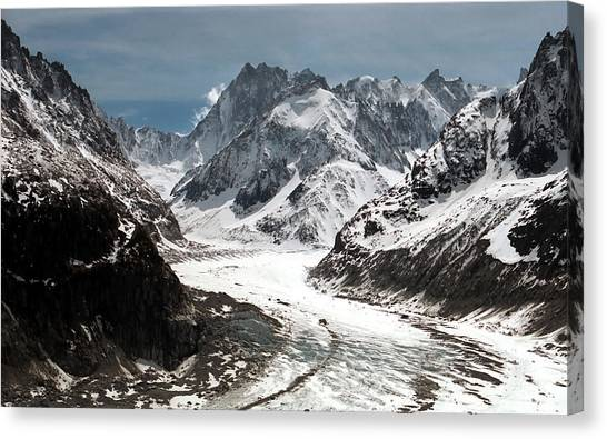 Global Warming Canvas Print - Mer De Glace - Mont Blanc Glacier by Frank Tschakert