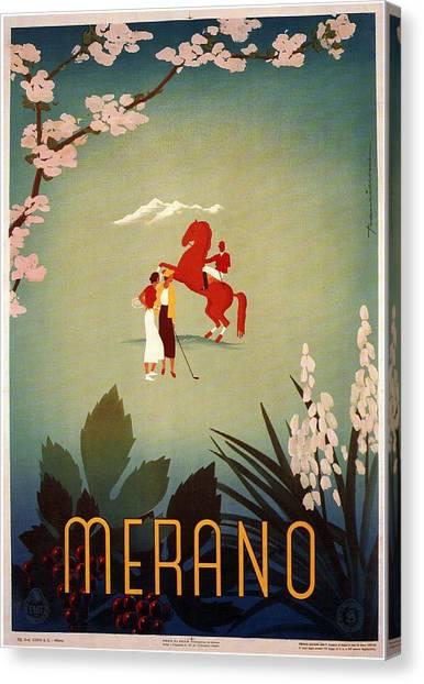 Blossom Canvas Print - Merano - Italy - Retro Travel Poster - Vintage Poster by Studio Grafiikka