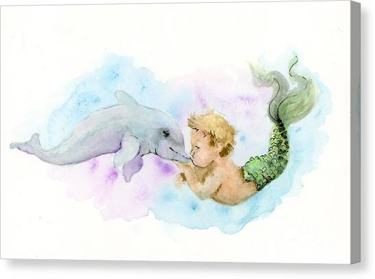 Canvas Print featuring the painting Merboy Kiss by Lauren Heller