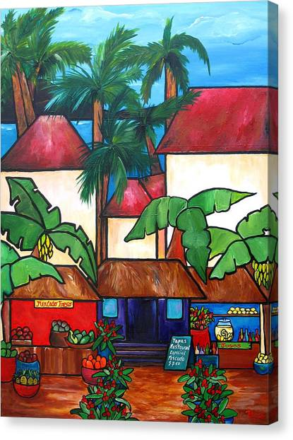 Banana Tree Canvas Print - Mercado En Puerto Rico by Patti Schermerhorn