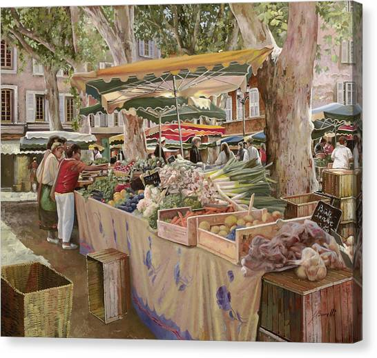 Fruit Baskets Canvas Print - Mercato Provenzale by Guido Borelli