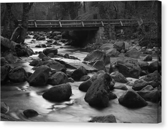 Merced River Wood Bridge Canvas Print