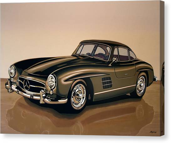 Old Door Canvas Print - Mercedes Benz 300 Sl 1954 Painting by Paul Meijering