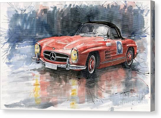Red Canvas Print - Mercedes Benz 300sl by Yuriy Shevchuk