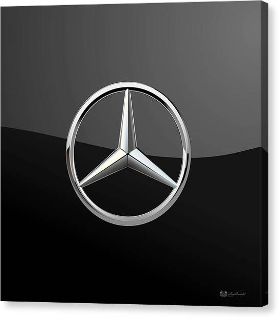 Automobiles Canvas Print - Mercedes-benz - 3d Badge On Black by Serge Averbukh