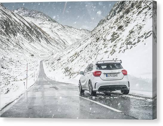Mercedes Benz A45 Amg Snow Canvas Print