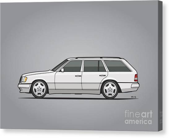 Planet Canvas Print - Mercedes Benz W124 T124 300te E-class White Estate Wagon by Monkey Crisis On Mars