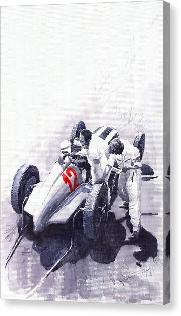 German Canvas Print - Mercedes Benz W125 Rudolf Caracciola The German Grand Prix Nurburgring 1937  by Yuriy Shevchuk