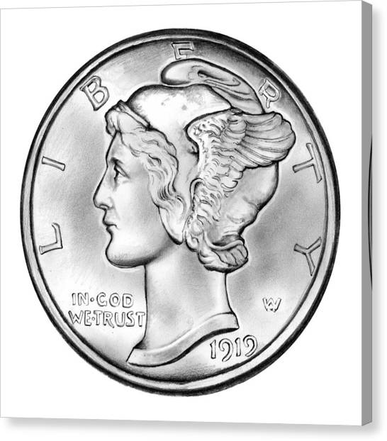 Coins Canvas Print - Mercury Dime by Greg Joens