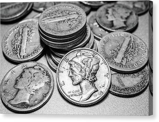 Money Canvas Print - Mercury Dimes by Tom Mc Nemar