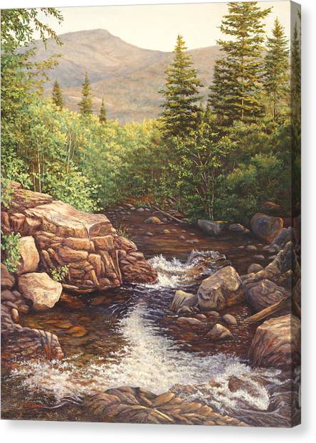 Crystal Cascade Falls, Pinkham Notch, Nh Canvas Print by Elaine Farmer