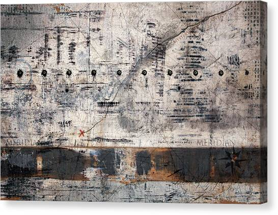 Compass Canvas Print - Meridian Map by Carol Leigh