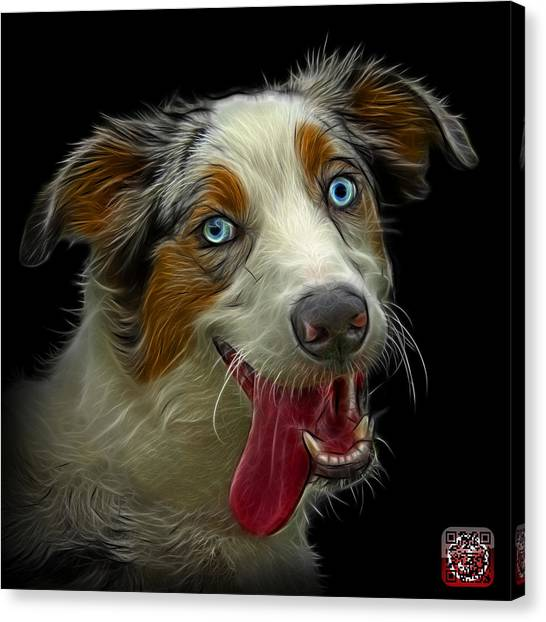 Canvas Print featuring the painting Merle Australian Shepherd - 2136 - Bb by James Ahn