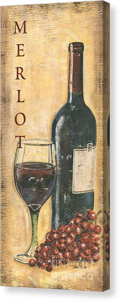Red Wine Canvas Print - Merlot Wine And Grapes by Debbie DeWitt