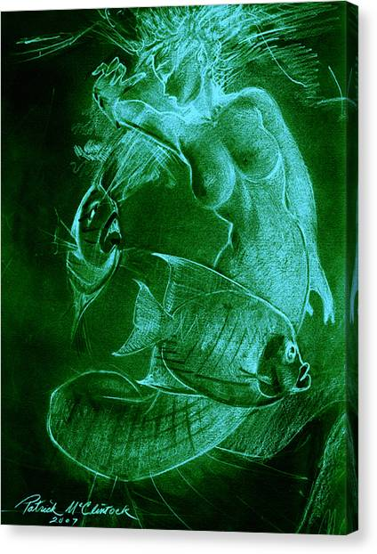 Mermaid And Fish Canvas Print by Patrick McClintock